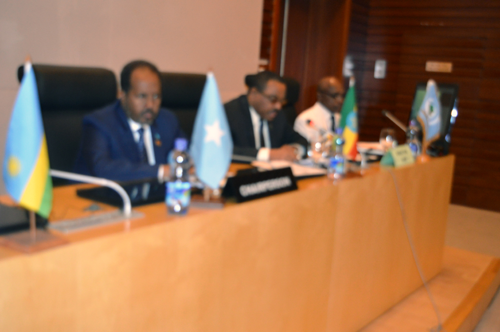 President of the Federal Government of the Republic of Somalia chairing the meeting.
